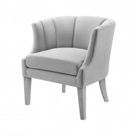 Light Grey Velvet Piped Stitching Accent Chair