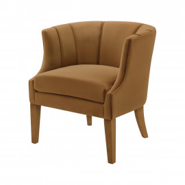 Rich Caramel Velvet Piped Stitching Accent Chair