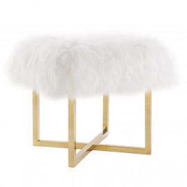 Fluffy White Sheepskin Footstool Bench Gold Legs