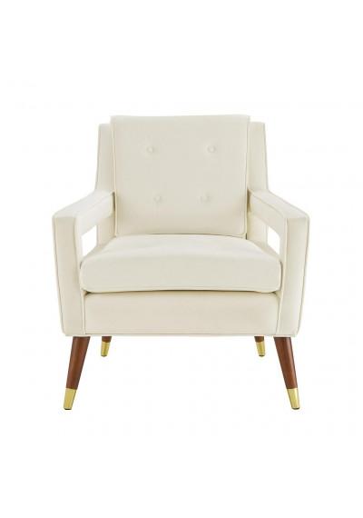 Luscious Cream Velvet Mid-Century Arm Chair