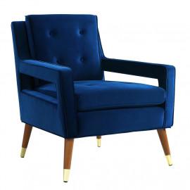 Luscious Blue Velvet Mid Century Arm Chair
