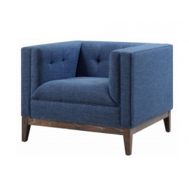 Blue Linen Wood Frame Mid Century Chair