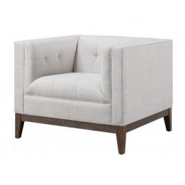 Beige Linen Wood Frame Mid Century Chair