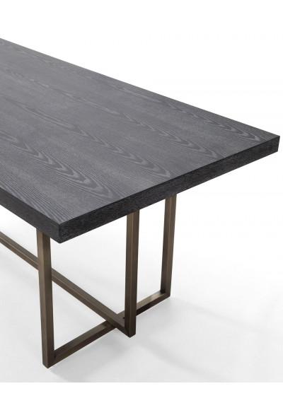 Black Finish Wood Top Brushed Gold Base Dining Table