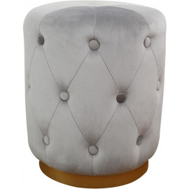Grey Velvet Button Tufted Round Ottoman Footstool Gold Base