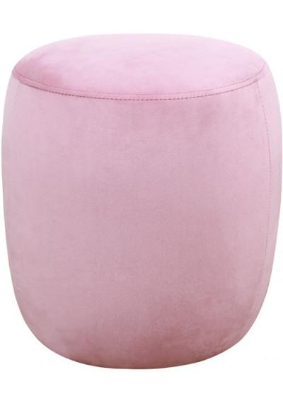 Round Blush Pink Velvet Ottoman Footstool