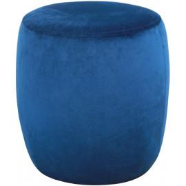 Round Royal Blue Velvet Ottoman Footstool