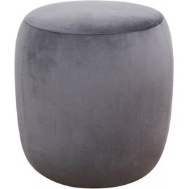 Round Grey Velvet Ottoman Footstool