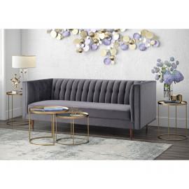 Grey Velvet Channel Tufted Back Seat Sofa