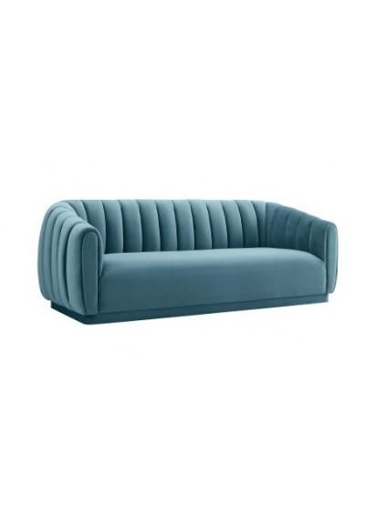 Ocean Blue Velvet All Over Channel Tufted Sofa