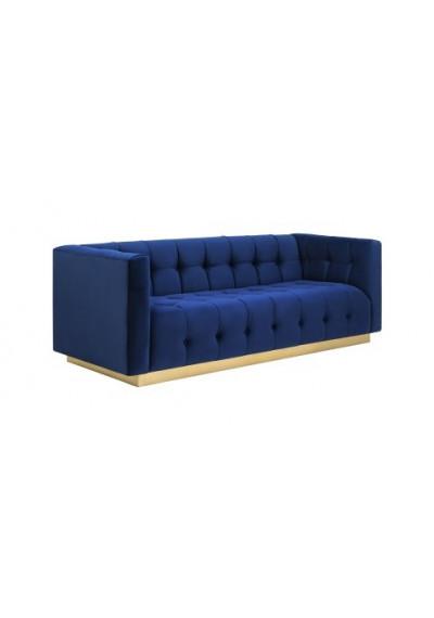 Navy Blue Velvet Button Tufted Sofa Gold Base