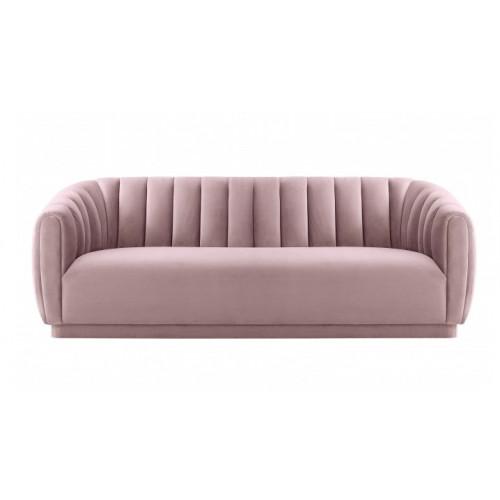 Blush Pink Velvet All Over Channel Tufted Sofa