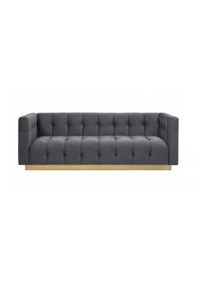 Dark Grey Velvet Button Tufted Sofa Gold Base