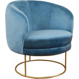 Blue Velvet Circular Shaped Gold Frame Chair