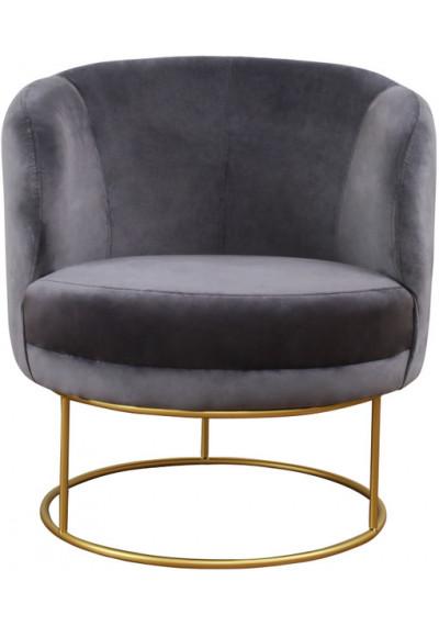 Grey Velvet Circular Shaped Gold Frame Chair
