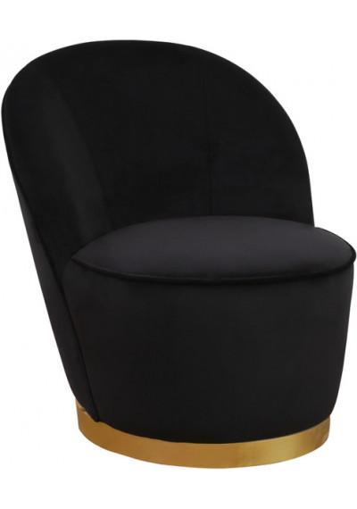 Elegant Black Velvet Armless Barrel Chair Gold Base