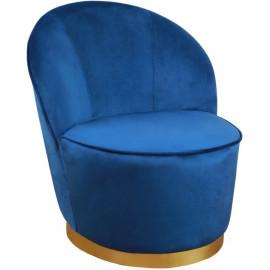 Elegant Blue Velvet Armless Barrel Chair