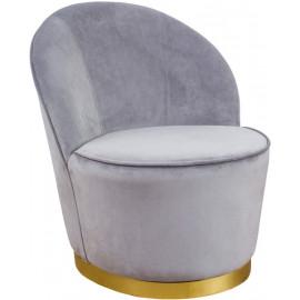 Elegant Grey Velvet Armless Barrel Chair