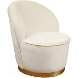 Elegant Ivory Velvet Armless Barrel Chair