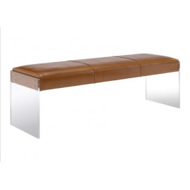 Brown Soft Leather Bench Flat Acrylic Legs