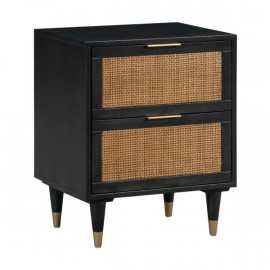 Black Wood Rattan Cane Accent Table Night Stand
