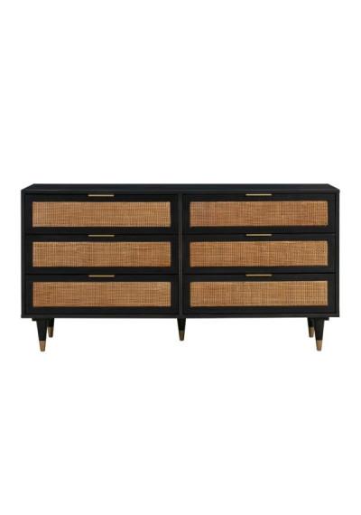 Black Wood Natural Rattan Cane 6 Drawer Dresser