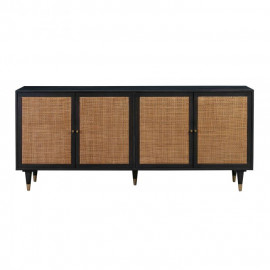 Black Wood Rattan Cane Buffet Sideboard