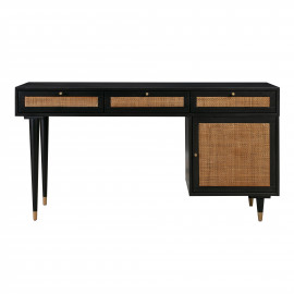 Black Desk with Natural Rattan Cane Accents