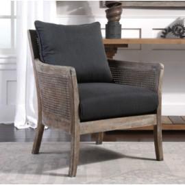 Cane Rattan Wood Dark Grey Cushion Casual Accent Chair