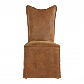 Brown Leather Slipcover Armless Accent Dining Chair Set 2