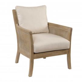 Cane Rattan Wood Off White Cushion Casual Accent Chair
