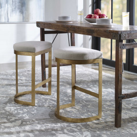 C Shaped Antique Gold Metal & Off White Fabric Stool