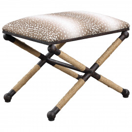 Animal Print Fabric Rustic Iron Rope Details Footstool Bench