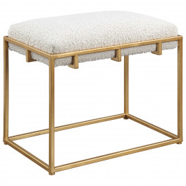 Gold Framed Small Bench Ottoman Cream Faux Shearling
