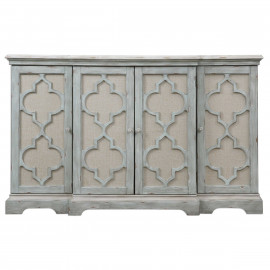 Four Door Weathered Gray Cabinet Console