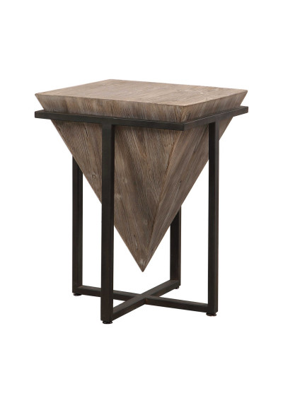 Wood & Iron Upside Down Pyramid Accent Table