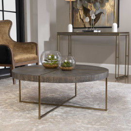 Contemporary Wood and Brushed Brass Round Coffee Table