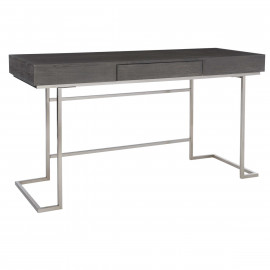 Smoke Grey Oak Stainless Steel Base Writing Desk
