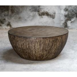 Mango & Walnut Wood Round Drum Coffee Table