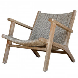 Woven Rattan Beige & Grey Laid Back Accent Chair