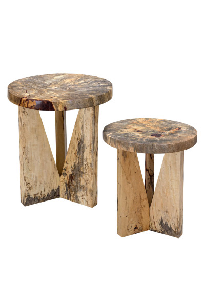 Unique Round Solid Wood Two Angular Nesting Side Tables