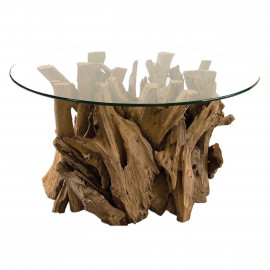 Knotty Driftwood & Round Glass Coffee Table