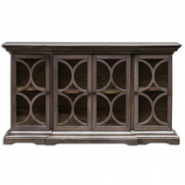 Rich Walnut Carved MoldingFour Glass Door Cabinet Sideboard