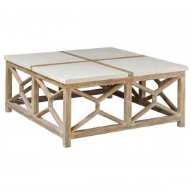 Ivory Stone Square & Light Wood Geometric Coffee Table