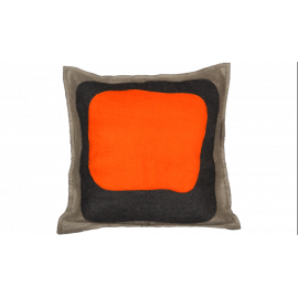 Abstract Color Splash Orange Block Throw Pillow