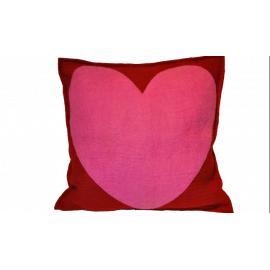 All My Heart Red & Pink Felted Wool Throw Pillow