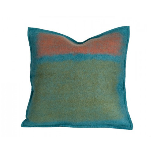Abstract Azure Color Splash Felted Wool Throw Pillow