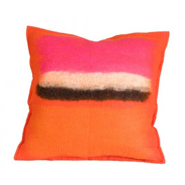 Abstract Persimmon Color Splash Felted Wool Throw Pillow