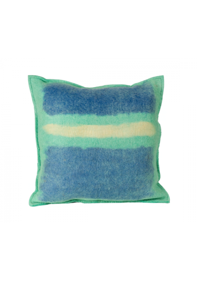 Abstract Sky Color Splash Felted Wool Throw Pillow