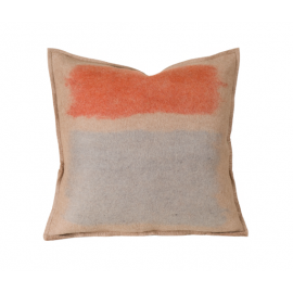 Abstract Taupe Red Color Splash Felted Wool Throw Pillow